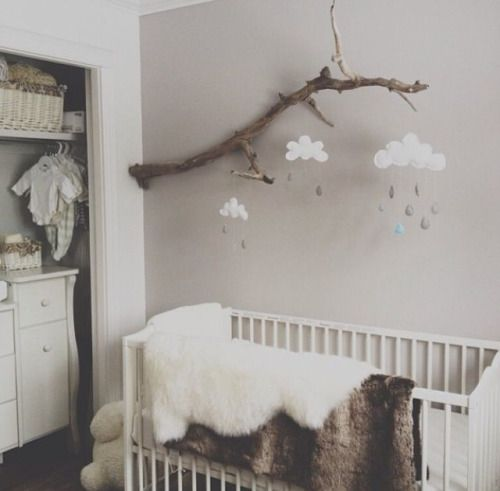 nordic nursery - Google zoeken. I love the floating branch for the mobile... instead of clouds I would probably do owls or leaves.