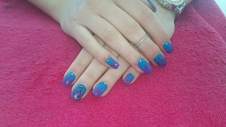 Purple and blue nail art