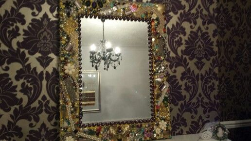 Keepsake mirror. Using old family jewellery.