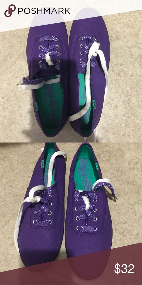 Purple Keds Brand New Size 8 Never worn, in great condition, I bought them and forgot about them and discovered they were too big. Two pairs of shoelaces, reg white and polka dot purple Keds Shoes Sneakers