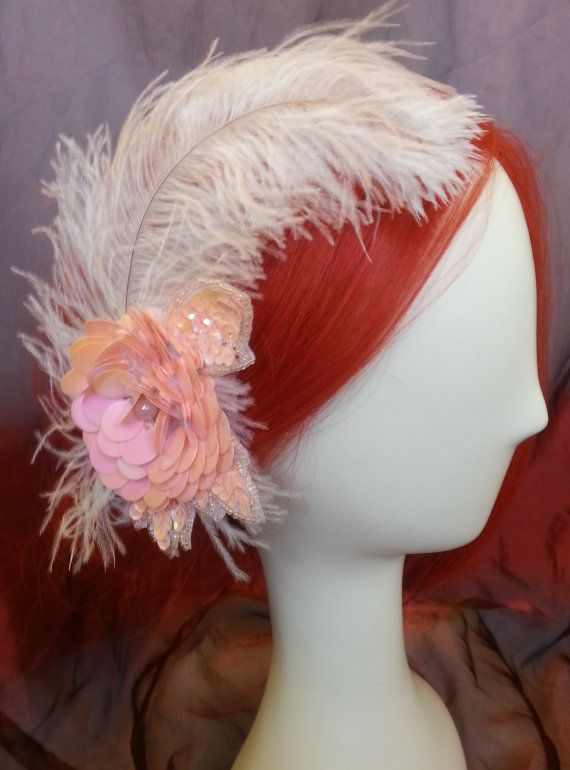 Large white ostrich plume with soft pink sequined applique fastened to a hair clip #etsy #etsyretwt