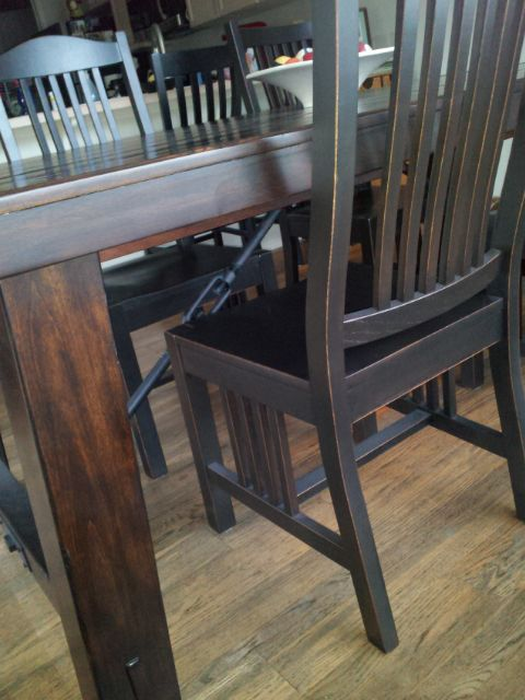 Refinish Craigslist chairs to make a perfect match with a Pottery Barn table.