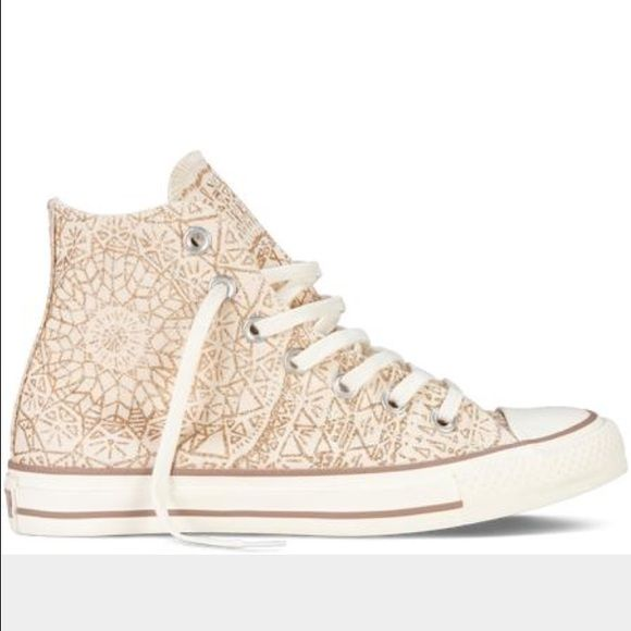 Chuck Taylor Snowflake Gold High Top Converses Limited Edition - Sold out - i usually wear a 5.5/6 and these fit perfect - brand new! worn 2 times!!! Converse Shoes Sneakers