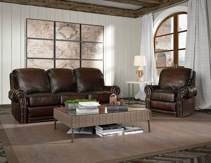 Barcalounger Premier Sofa and 1 Seat Chair in Stetson Coffee Leather