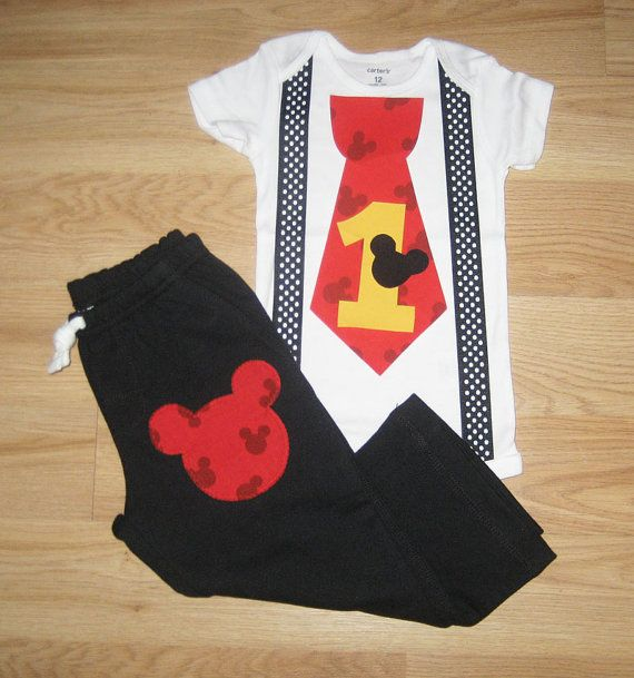 Mickey Mouse 1st Birthday Outfit Boys Cake Smash Onesie With Suspenders And Pants Set Baby Boy First Party