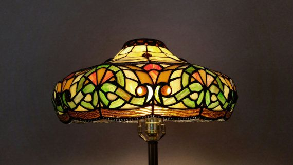 Vintage 1970's Tiffany Style Stained Glass Lamp Shade Mid
