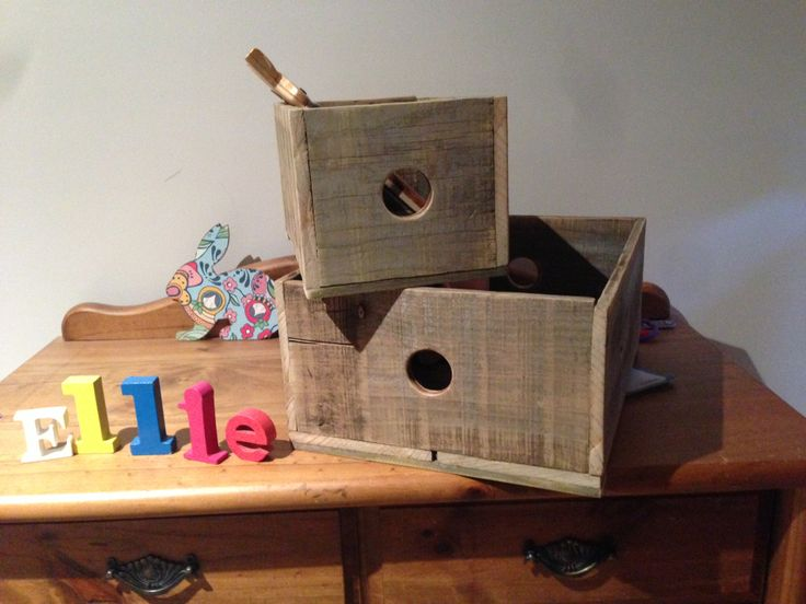 Wooden storage boxes perfect for packing up the toys. They look great anywhere - in the house or classroom.  Made from reclaimed timer.   The boxes pictured are a 'one off' design because the timber reclaimed was limited. We are still looking for more!  Only a few are available, so get in quick! New styles soon!   If you require custom sizes, or large orders, just ask, we are more than happy to quote this for you.  Small - 300mm (l) x 190mm (w) x 160mm (d) Large- 400mm (l) x 320mm (w) x…