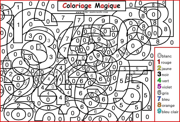COLORIAGE MAGIQUE : différencier chiffres 0 à 9