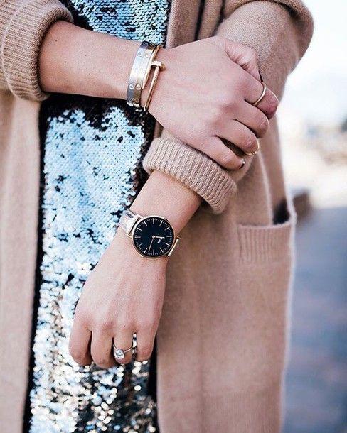 Dress: tumblr sequin sequins gold watch watch cuff bracelet bracelets gold bracelet jewelry gold