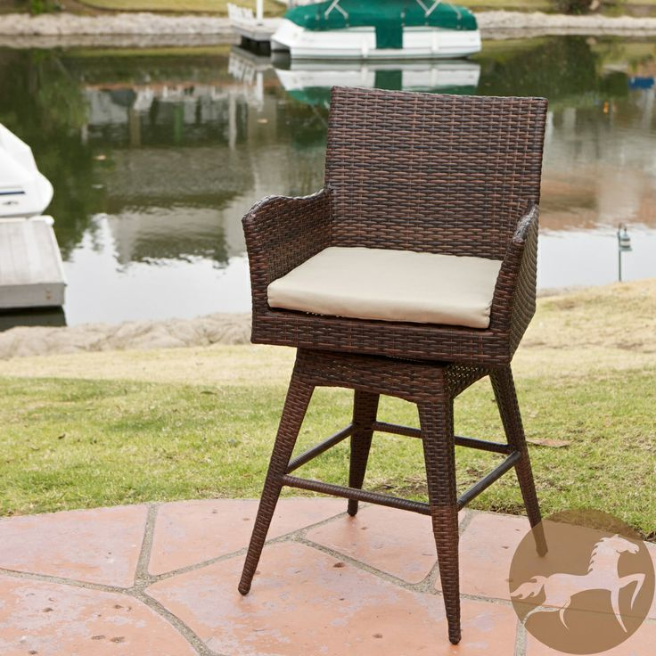 Braxton Outdoor Wicker Swivel Armed Barstool With Cushion By Christopher Knight Home By Christopher Knight Home