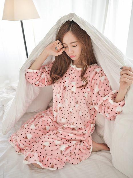 Banibella winter sleepwear / ICECREAM MINK ONEPIECE PJ / the best quality women pj /  Microfiber sleepwear