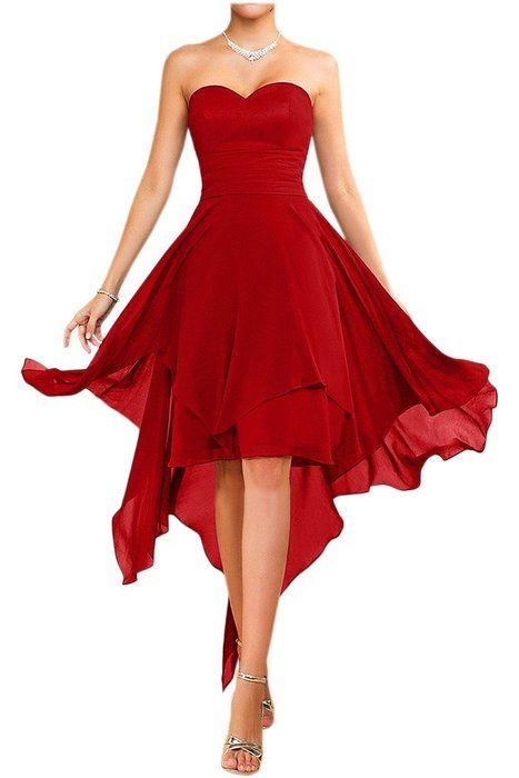 Vienna Bride Simple Strapless Hi-Lo Bridesmaid Cocktail Dress for Women Chiffon-4-Red