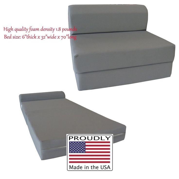 Gray Sleeper Chair Folding Foam Beds 6 x 32 x 70, High Density Foam Sofa Bed #Danfuton