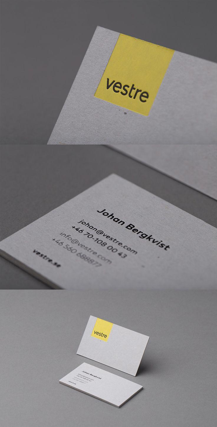Vestre - Visittkort med foliepreg på grå kartong.  #visittkort
