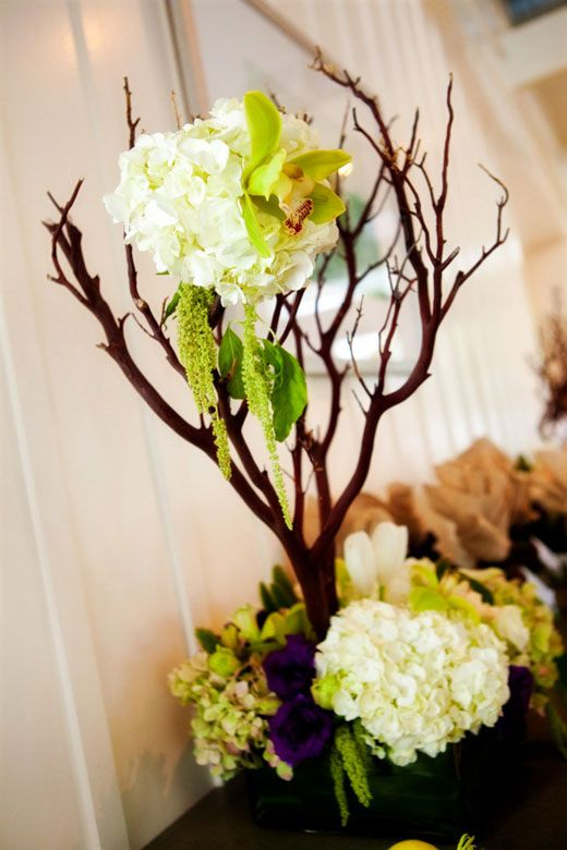 182 best branch wedding centerpieces images on pinterest for Floral arrangements with branches