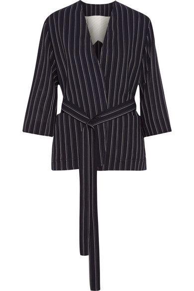 Acne Studios - Jada Belted Pinstriped Wool Blazer - Navy - FR40