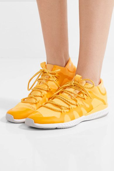 Rubber sole measures approximately 25mm/ 1 inch Bright-yellow mesh Lace-up front