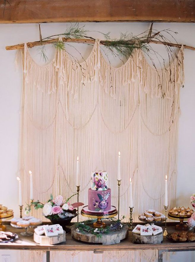 Planning a boho celebration? Use macrame, jewel tones and plenty of natural details to create the trendy dessert table of your dreams.