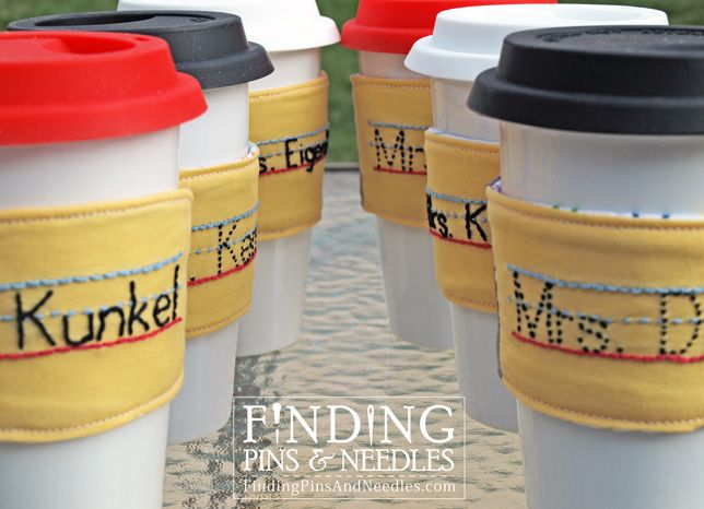 Personalized Pencil Drink Sleeve embroidered, tutorial ...