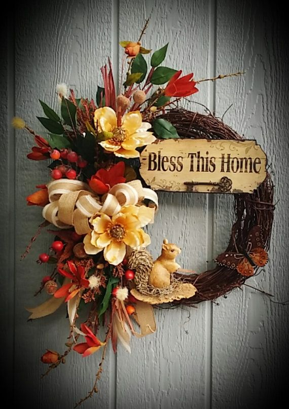Fall Wreath Grapevine Wreath Squirrel by TheChicyShackWreaths