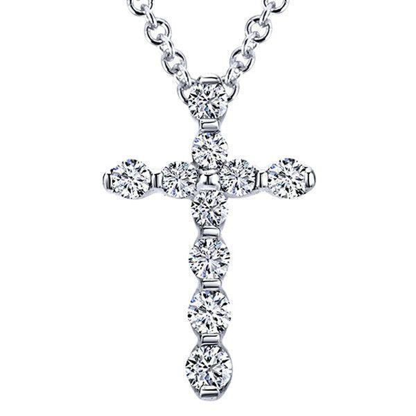 Gabriel Diamond Cross Necklace In 14K White Gold Featuring 0.15 Carats Round Cut Diamonds. Style NK4996W45JJ