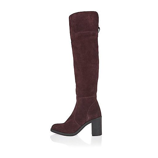 Dark red suede over the knee boots