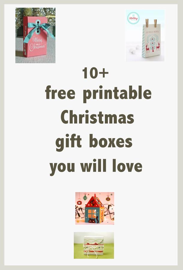 free printable Christmas gift boxes and treat bags