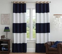 Rugby Blackout Curtain, Navy/White