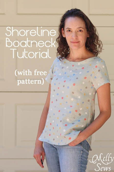 Women's Boat Neck Shirt Tutorial with free pattern (for a limited time) - Melly Sews http://mellysews.com #sewing #tutorial #fashion