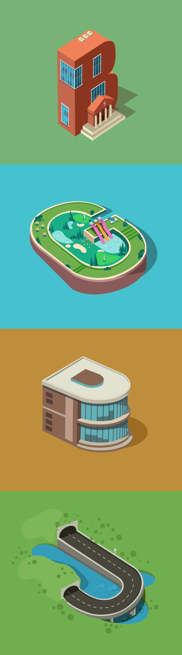 Banks, tunnels, government, parks icons design