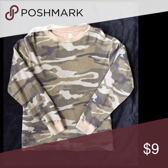 ‼️DISC SHIPPING NOW💥‼️Thermal Camouflage Shirt Camouflage thermal pullover long sleeve shirt Faded Glory Shirts & Tops Tees - Long Sleeve