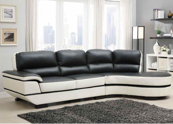 2 Pc Hanlon Collection Modern Styling Chocolate And White Bonded Leather Sectional Sofa Set With Rounded