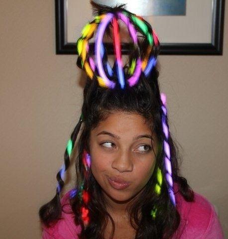 Add Glow Sticks Crazy Hair For KidsCrazy