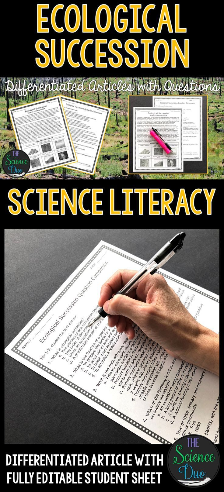 This Ecological Succession Science Literacy Article Will Help To Support Important Scie Science Literacy Middle School Science Middle School Science Activities