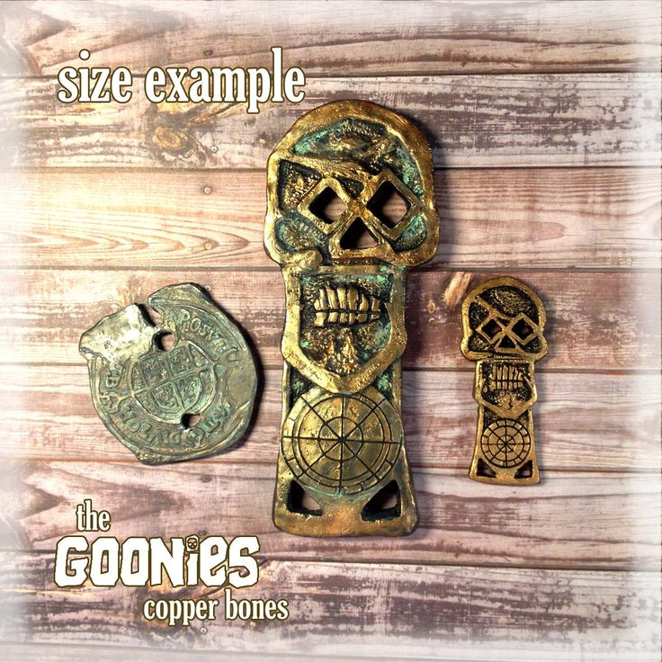 Goonies Dabloon, Copper Bones and Mini Copper Bones Skeleton Key 1:1 Scale Movie Prop by Giuliart