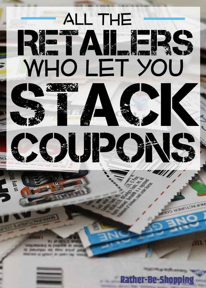 How to Stack Coupons to Maximize Savings: Which Retailers Let You Stack Coupons - wow!, this post has a ton of info on the art of stacking coupons!  Lots of stores are listed, their rules on stacking coupons and tips on how to maximize your savings - via Rather Be Shopping