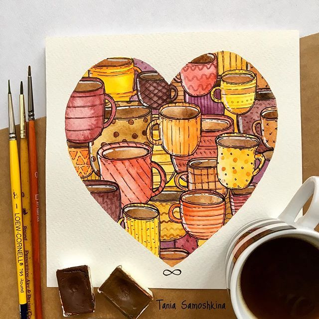 mugs and cups☕️ of coffee or tea or cocoa or something else #all_i_love #shapeofmyheart #illustrations #cup #mug #watercolor #watercolorart #painteveryday #topcreator #watercolorpainting #eatsleepdraw #instagramartist #artistsoninstagram #inspiration