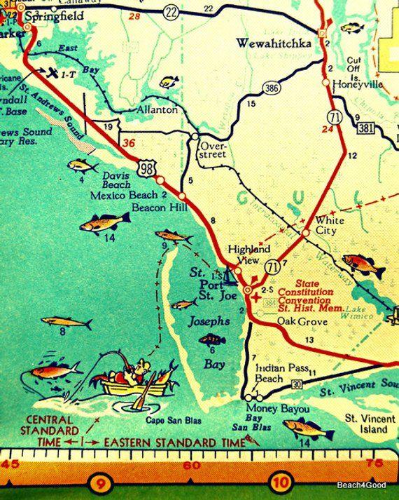 Florida Beach Map.Map Art 8x10 Port St Joe Mexico Beach Florida Beach Wall Art Print