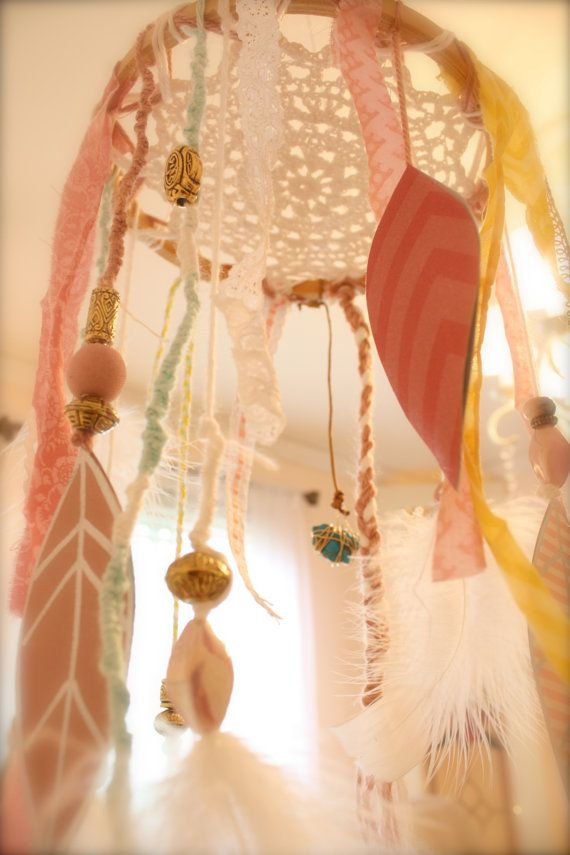 Dream Catcher Shabby Chic Baby Mobile by ScarlettsRose on Etsy