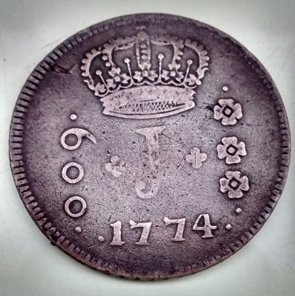 BRASIL 1774. V.3A600 RÉIS MOEDA DE PRATA. MBC