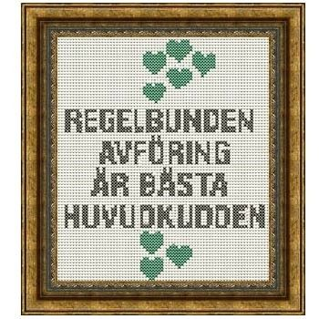 Fuldesign cross stitch embroidery pattern Regelbunden avföring är bästa huvudkudden