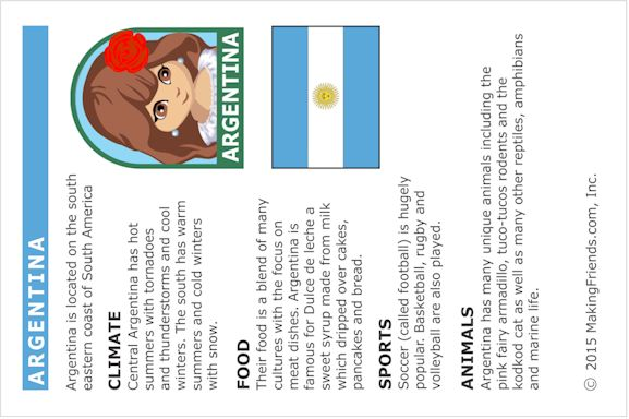 Fact Card about Argentina for Thinking Day