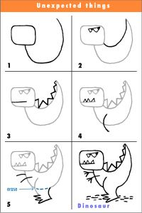 how to draw a simple T-Rex, guided drawing