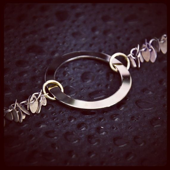 Vintage 1970's circle bracelet with modern leaf chain.