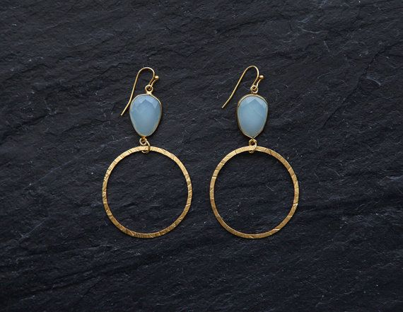 Aqua blue chalcedony and goldplated hoop by rosehipjewelry on Etsy, $26.00