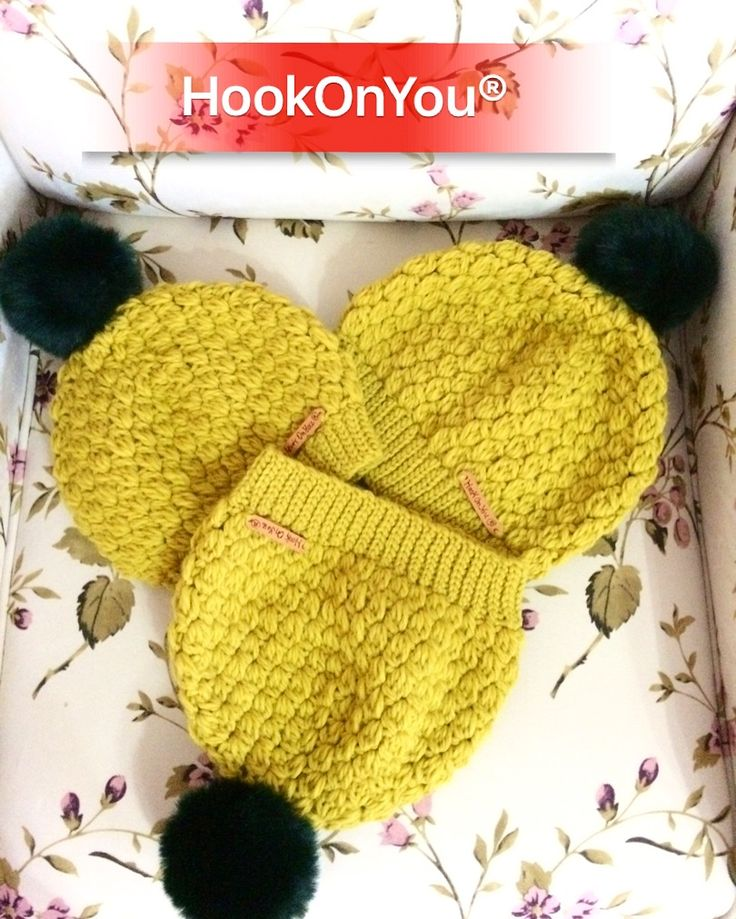 These beautiful mustard pompom hats are going to three beautiful ladies 💁who can't wait to worn them this next Winter ❄️ Was a pleasure making them 😉 Thank you ❤️For Info/purchase contact me 📩😉 #hookonyou #handmade #kartopu #crochethats #nofilter #mybrand