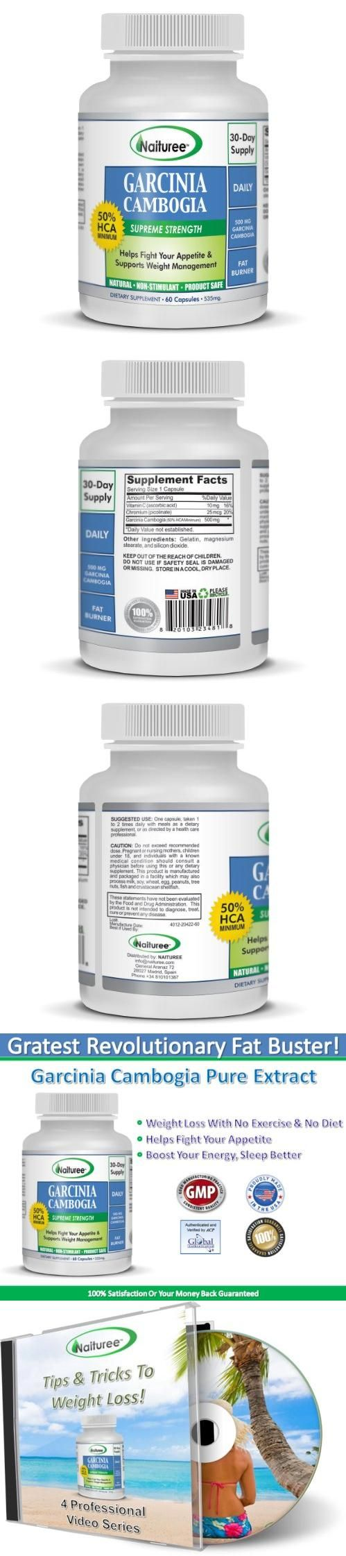 Garcinia Cambogia For Weight Loss -60 Capsules Per Bottle-With 50% HCA
