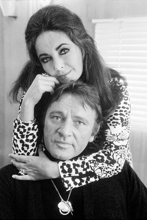 Elizabeth Taylor & Richard Burton , 1971, London, in his trailer on location in Hounslow during the filming of 'Villain' / Terry O'Neill