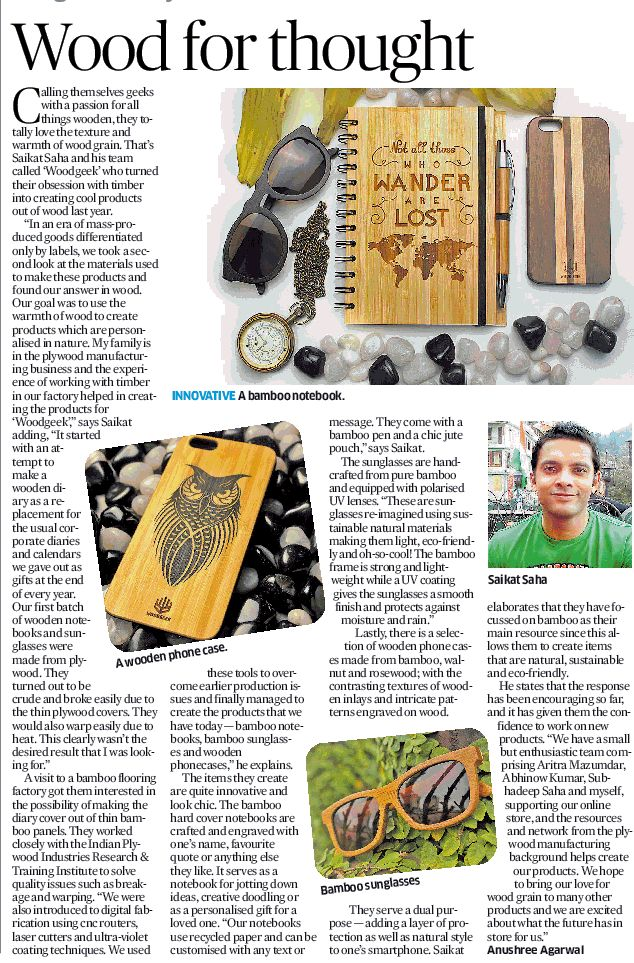 Whohoo! We've just been featured in Deccan Herald. Thank you for putting the spotlight on us and encouraging us to keep working on our wooden products.