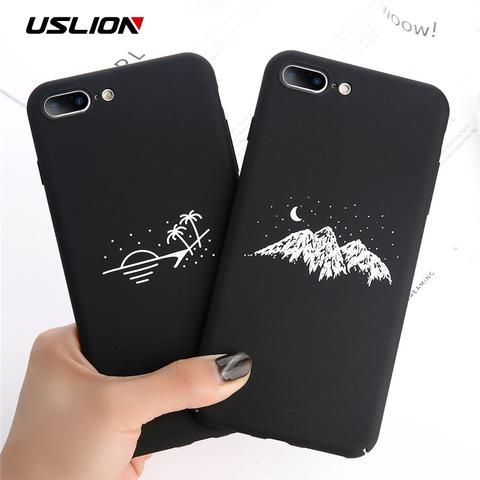 USLION Phone Case For iPhone X Matte Full Cover For iPhone 7 8 6 6s Plus Mountai…